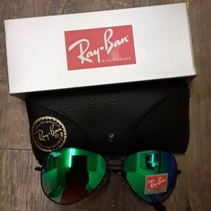 Brand New Green Granite RayBan Aviators 62mm